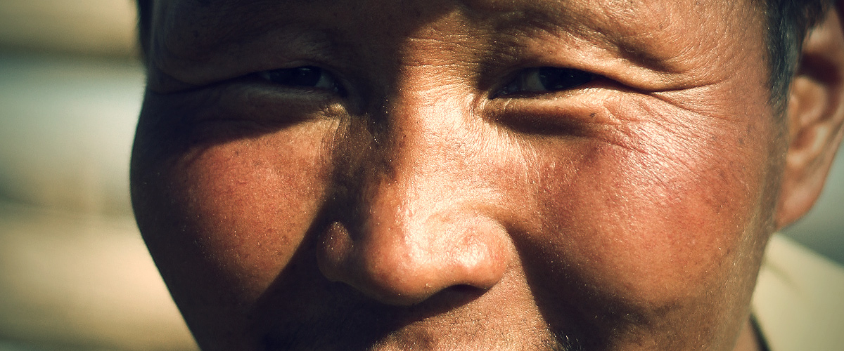 Mongolian eyes of a nomad man