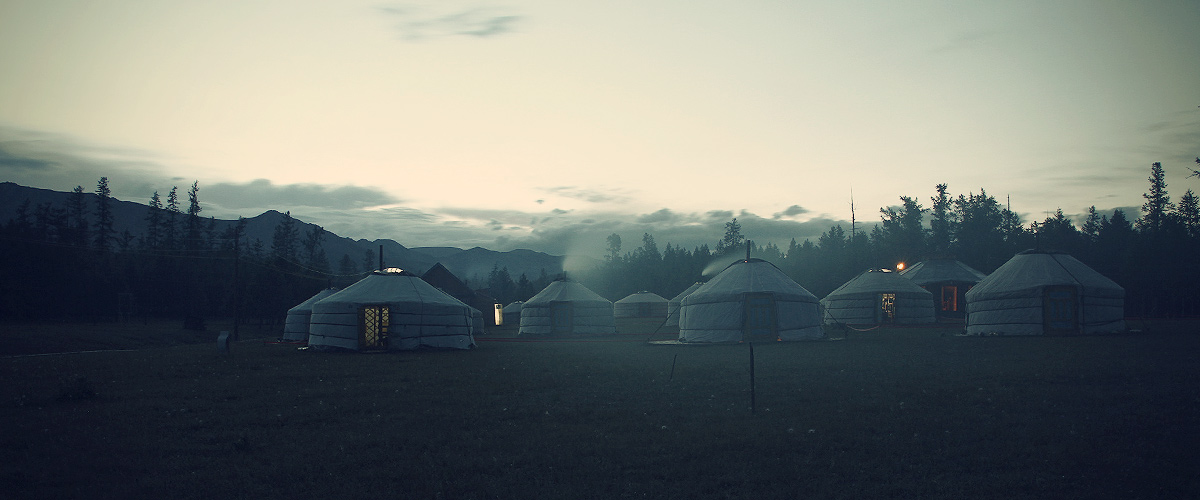 Mongolian Yurt Camp in Twilight