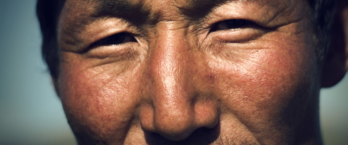 Nomad eyes of a mongolian man
