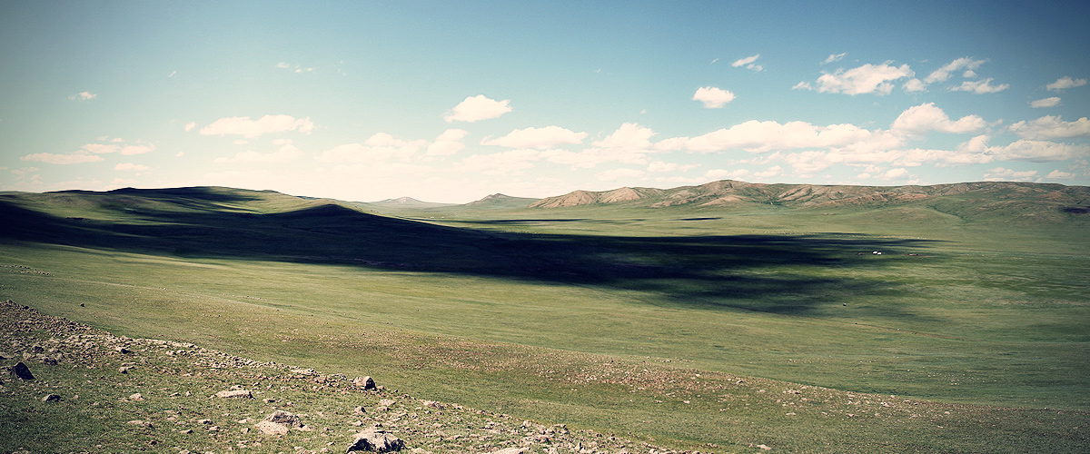 Wide grassland in mongolia